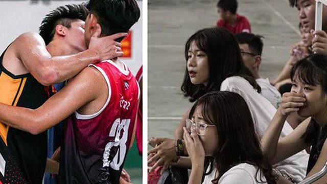 2 hot boy bóng rổ 10X thân mật như hôn nhau giữa sân, fan nữ hú hồn 'chết lặng'