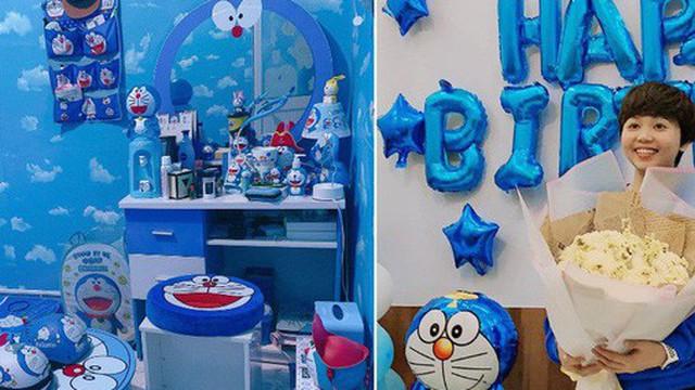 Dân tình choáng với căn phòng ngợp màu xanh của cô gái gần 30 tuổi không chịu lấy chồng vì còn mải mê Doraemon