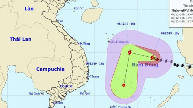 Bão Kammuri cách quần đảo Trường Sa hơn 400km, giật cấp 12