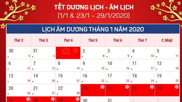 14 ngày nghỉ lễ, Tết năm 2020