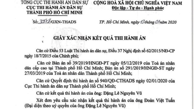 Ông Đặng Lê Nguyên Vũ đã nộp xong gần 1.200 tỷ thi hành án