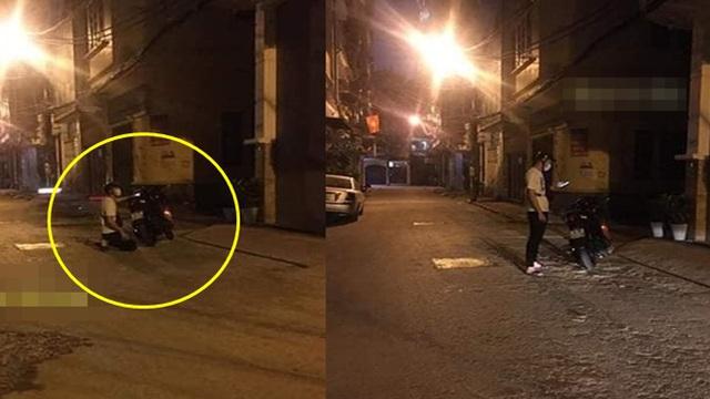 Xôn xao hình ảnh thanh niên đi SH đến quỳ trước cổng nhà 7 tầng của bạn gái để xin lỗi