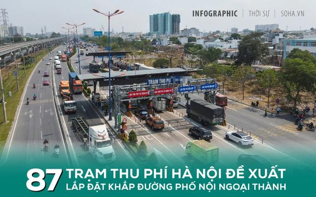 [INFOGRAPHIC] Bản đồ 87 trạm thu phí Hà Nội đề xuất đặt dày đặc khắp nội, ngoại thành