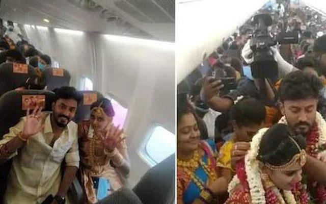 Lách luật cấm tụ tập, cặp đôi Ấn Độ tổ chức đám cưới trên máy bay, hình ảnh 161 khách ''chen lấn đông như kiến'' khiến MXH choáng váng