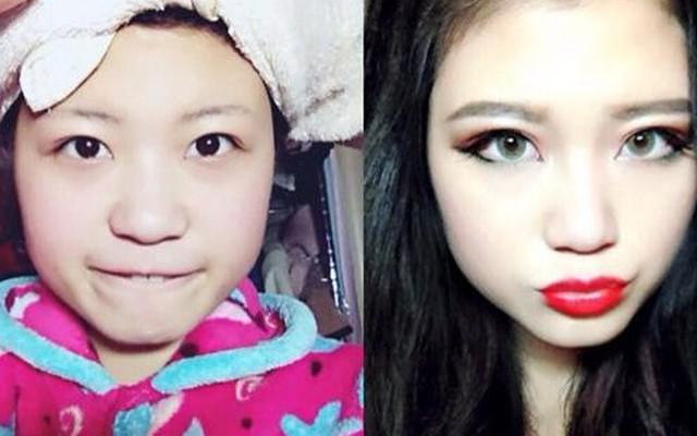 """Cận cảnh """"gái xấu"""" biến thành hot girl nhờ make up"""