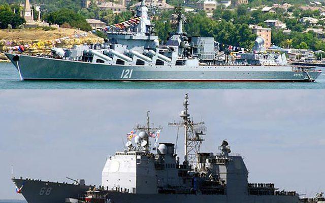 """Tuần dương hạm """"khủng"""" của Nga - Mỹ """"đối đầu"""""""