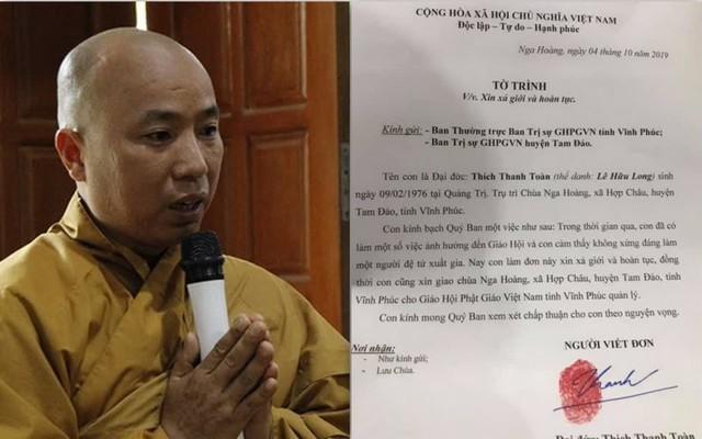 """Sau khi xin xả giới, sư Toàn nói """"lấy vợ thoải mái không sợ gì cả"""" và xin giữ lại tài sản 200-300 tỷ đồng"""