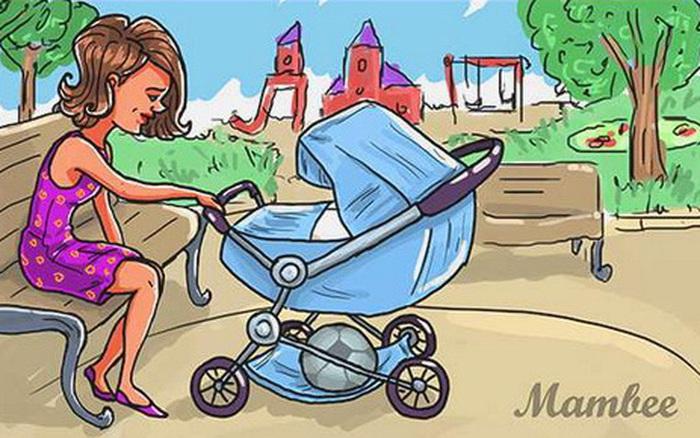Test tư duy logic trong 3 giây: Trong bức tranh này, người mẹ trẻ có mấy đứa con?